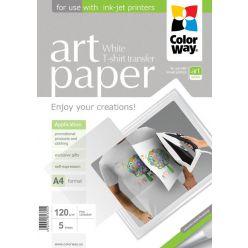 COLORWAY nažehlovací papír/ na světlý textil/ 120g/m2, A4/ 5 kusů