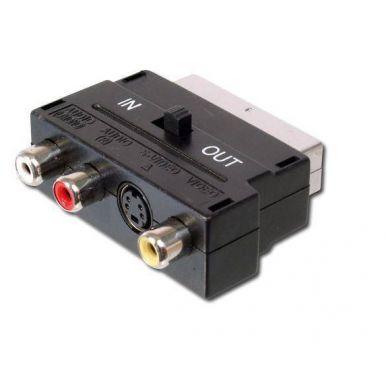 Redukce Scart(M) - SVHS(F)/ 3x cinch(F) ,s přepínačem vstup/výstup