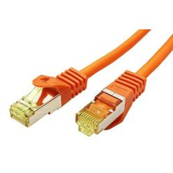 S/FTP patchkabel kat. 7, s konektory RJ45, LSOH, 0,5m, oranžový