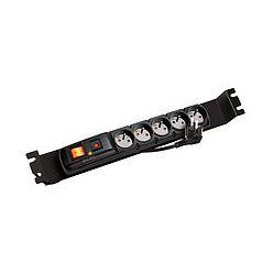 """Solarix Napájecí panel ACAR F5 FA 3m 5 pozic BK včetně držáků do 19"""" lišt 1U, ACAR-F5-FA"""