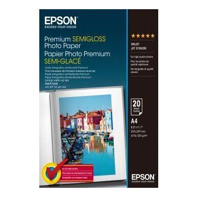 Epson Premium Semigloss Photo Paper, foto papír, pololesklý, bílý, Stylus Photo 880, 2100, A4, 251 g/m2, 20 ks, C13S041332, inkou