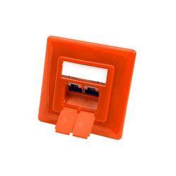 Zásuvka STP kat. 6 pod omítku, 2 konektory, vertikální přívod, oranžová
