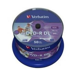 Verbatim DVD+R DL Wide Printable, 8.5GB, 8x, 50ks, spindle