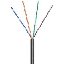 Goobay UTP Kabel Cat5e CCA, AWG24, drát, 100m, šedý, venkovní provedení