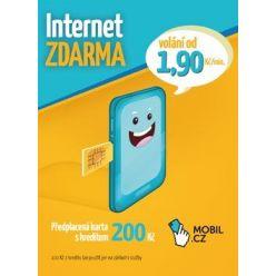 Předplacená SIM karta Mobil.cz s kreditem 200 Kč