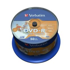 Verbatim AZO DVD-R Wide Printable, 4.7GB, no ID, 16x, 50ks, spindle