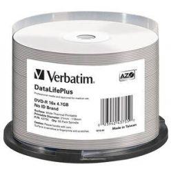 Verbatim DVD-R Wide Printable, 4.7GB, termotisk, no ID, 16x, 50ks, spindle