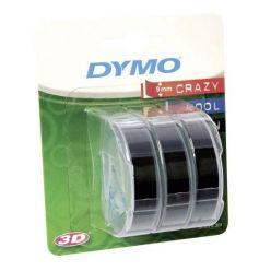 Dymo páska do tiskárny štítků, S0847730, černý podklad, 3m, 9mm, 3D, 1 blistr/3 ks
