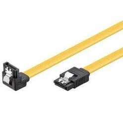 PremiumCord SATA III kabel, 30cm, kovová západka, 90°, žlutý