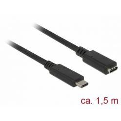 Delock USB 3.0 prodlužovací kabel USB-C, 3A, 1.5m, černý