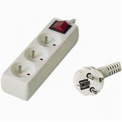 Prodlužovací přívod 230V, 5m, 3 zásuvky + vypínač