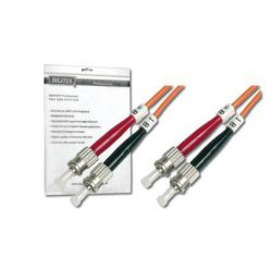 DIGITUS Fiber Optic Patch Cord, ST to ST, Multimode, OM1, 62.5/125 µ, Duplex Length 5m