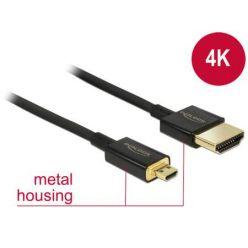 Delock Slim Premium Kabel HDMI 2.0, A samec > Micro-D samec, 1m