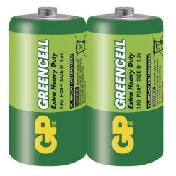 GP D Greencell, zinko-chloridové baterie, 2ks ve fólii