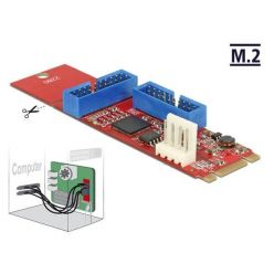 Delock interní USB 3.0 řadič, 2x 19-pin, M.2 PCIe (B+M key)