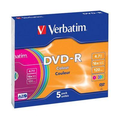 Verbatim DVD-R Colour, 4.7GB, 16x, 5ks, slim case