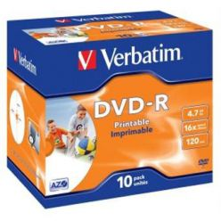 Verbatim DVD-R Wide Printable, 4.7GB, 16x, 10ks, jewel case