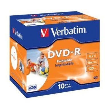 Verbatim DVD-R Wide Printable, 4.7GB, 16x, 10ks, jewel case