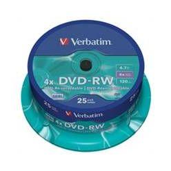 Verbatim DVD-RW Matt Silver, 4.7GB, 4x, 25ks, spindle