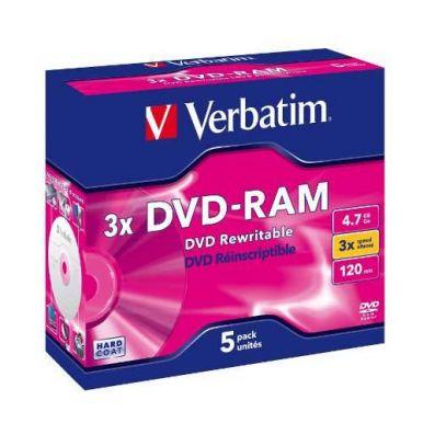 Verbatim DVD-RAM, 4.7GB, 3x, 5ks, jewel CD case