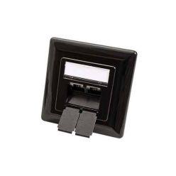 Zásuvka STP kat. 6 pod omítku, 2 konektory, vertikální přívod, černá