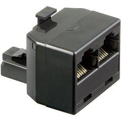 Goobay telefonní rozdvojka RJ45 (2xF,1xM), kat.3, černá