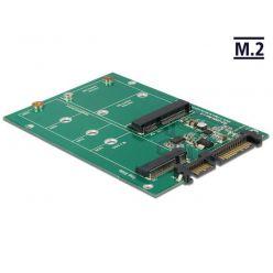 Delock adapté SATA 22 Pin -> 1 x M.2 NGFF + 1 x mSATA