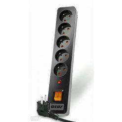 Acar X5 1.5m kabel, 5 zásuvek, přepěťová ochrana, černý