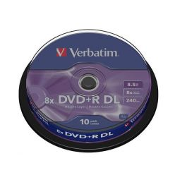 Verbatim DVD+R DL Matt Silver, 8.5GB, 8x, 10ks, spindle