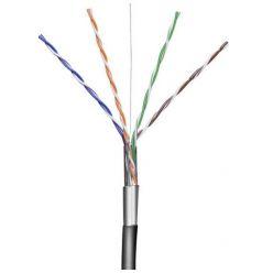 Goobay FTP Kabel, drát, Cat5e, AWG24, 100m, černý, venkovní provedení