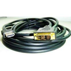 DVI-HDMI kabel, DVI-D(M) - HDMI M, 3m, zlacené konektory