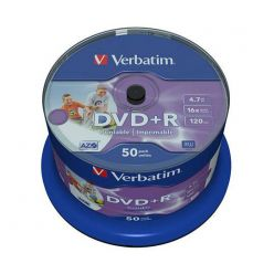 Verbatim DVD+R Wide Printable, 4.7GB, no ID, 16x, 50ks, spindle