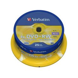 Verbatim DVD+RW Matt Silver, 4.7GB, 4x, 25ks, spindle
