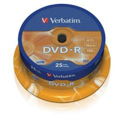 Verbatim DVD-R Matt Silver, 4.7GB, 16x, 25ks, spindle