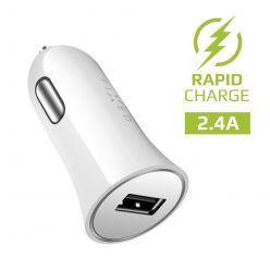 Autonabíječka FIXED s USB výstupem, 2,4A, bílá
