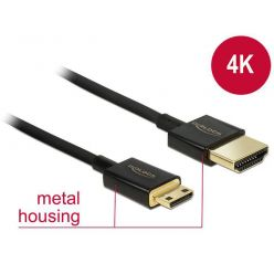 Delock slim HDMI 2.0 kabel , HDMI-A -> mini HDMI-C, 25cm