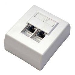 Zásuvka UTP kat. 5e na omítku, pro 2 konektory, bílá
