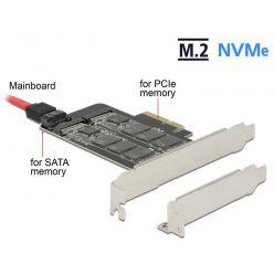 Delock PCI Express x4 Karta -> M.2 (Key B/ Key M), LP