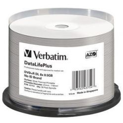 Verbatim DVD+R DL 8.5GB, 8x, wide printable, 50kusů, NON-ID