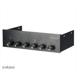 AKASA AK-FC-08BKV2 FC.SIX, hliníkový regulátor ventilátorů, 6 kanálů, černý