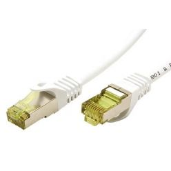 S/FTP patchkabel kat. 7, s konektory RJ45, LSOH, 0,25m, bílý