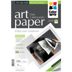 COLORWAY nažehlovací papír/ na  ART/ textil/ 120g/m2, A4/ 5 listů
