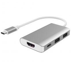 PremiumCord USB-C adaptér na 2x USB 3.0, HDMI a PD charge, hliníkový