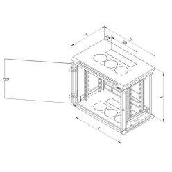 Triton 19' rozvaděč jednodílný 15U/600mm odnímatelné boční kryty plech.dv.RAL7035