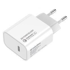 COLORWAY 1x USB-C/ síťová nabíječka/ 20W/ 100V-240V/ Bílá
