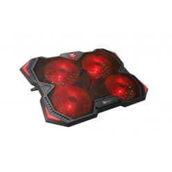 """C-TECH chladící podložka pod NTB Zefyros (GCP-01R), casual gaming, 17,3"""", červené podsvícení, regulace otáček"""