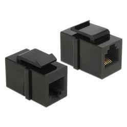 Delock Keystone Module RJ12 samice > RJ12 samice Cat.3, spojka, černá