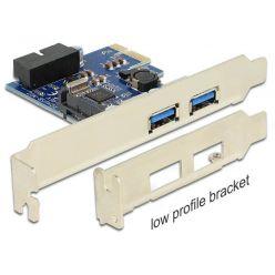 DeLock USB 3.0 řadič, 2x externí + 1x interní 19-pinový konektor, LP, PCIe