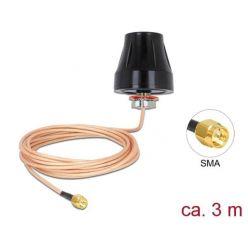 Delock LTE / GSM / UMTS Anténa SMA samec 2 dBi všesměrová pevná s připojovací kabel (RG-316U, 3 m) venkovní černý