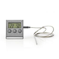Nedis KATH104SS - Teploměr na Maso | 0–250 °C | Digitální Displej | Časovač